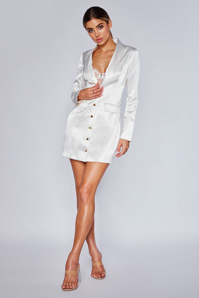 Reese Satin Blazer Mini Dress - Ivory - MESHKI