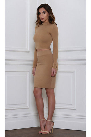 Vida Pencil Mini Skirt - Tan