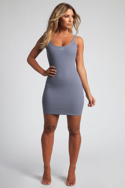 Danica Ribbed Body-con Mini Dress - Grey - MESHKI