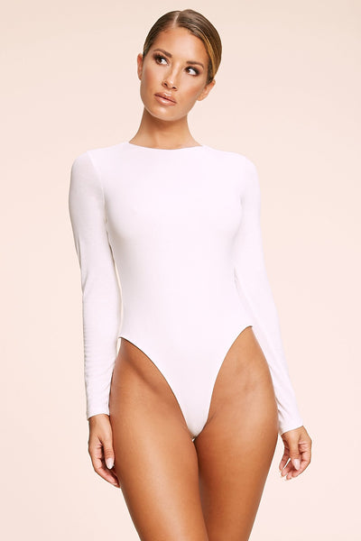 Kennedy Long Sleeve Bodysuit - White - MESHKI