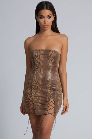 Anaya PU Strapless Dress - Snake Chocolate - MESHKI