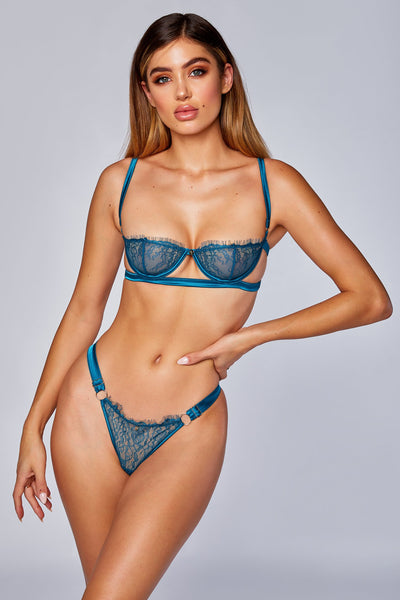 Vanessa Lace & Satin Thong - Turquoise
