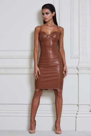 Misha Faux Leather Midi Dress - Tan - MESHKI