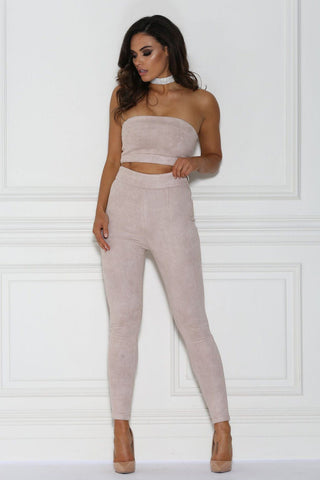 Zuri Suede Pants - Dusty Pink - MESHKI
