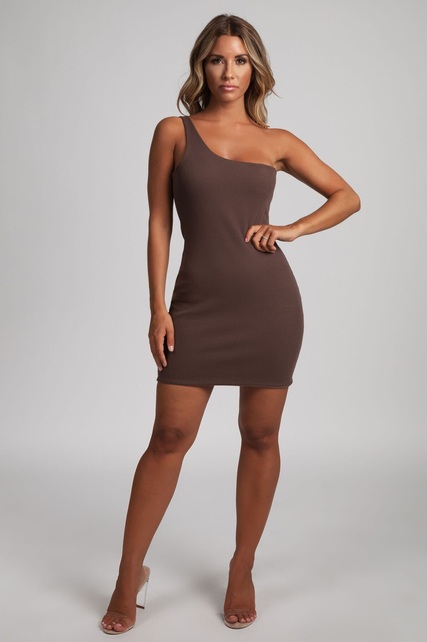 5645d56b61b0 Scarlett One-Shoulder Bodycon Rib Mini Dress - Chocolate - MESHKI