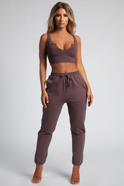 Bella V Neck Ribbed Crop Top - Mauve - MESHKI