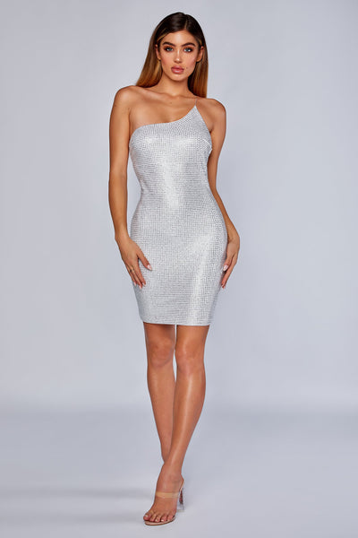 Vida One Shoulder Diamante Dress - White - MESHKI