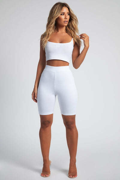 Dana Reversible Crop Singlet Strappy Top - White - MESHKI