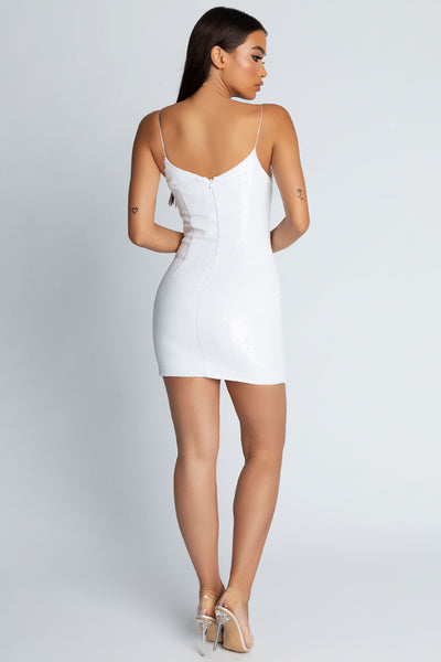 Katherine Sequin Mini Dress- White - MESHKI