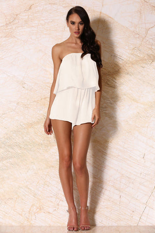 Melaina Strapless Playsuit - White
