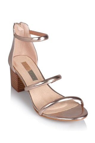 Albion Multi-Strap Block Heel - Rose Gold - MESHKI