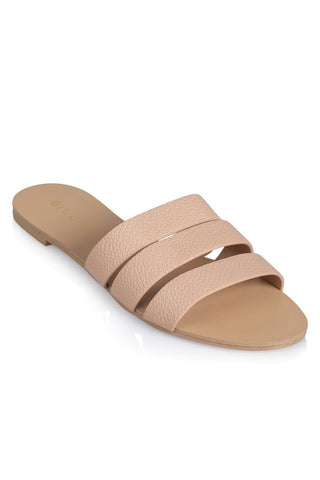 Uma Thick Multi-Strap Slides - Nude Pebble - MESHKI