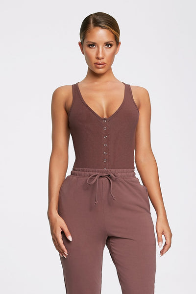 Milei Sleeveless Button Up Bodysuit - Mauve - MESHKI