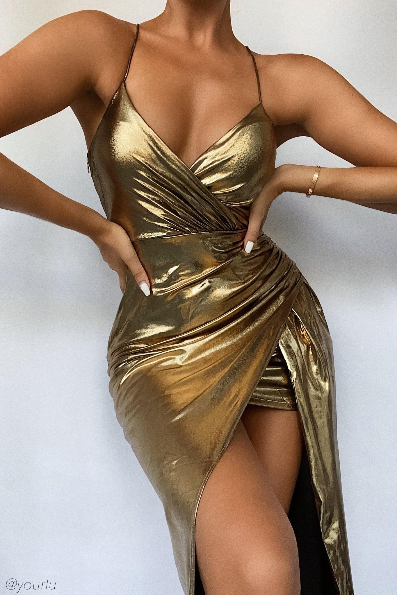 Hazel Wrap Drape Maxi Dress - Gold