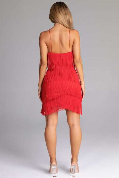 Paige Fringe Mini Dress - Red - MESHKI