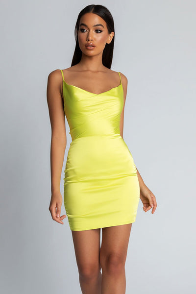 Zoey Cowl Neck Strappy Back Mini Dress - Lime Green