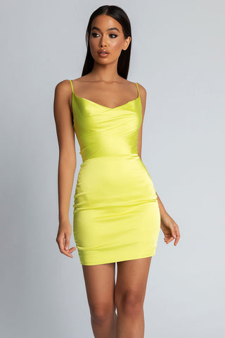 Zoey Cowl Neck Strappy Back Mini Dress - Lime Green - MESHKI
