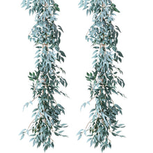 Load image into Gallery viewer, 2 Pack Artificial Gray Greenery Garland Faux Silk Willow Leaves Vines Wreath for Wedding Decor, Party, Home Decor, Crowns Wreath - PampasPalace