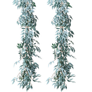 2 Pack Artificial Gray Greenery Garland Faux Silk Willow Leaves Vines Wreath for Wedding Decor, Party, Home Decor, Crowns Wreath - PampasPalace