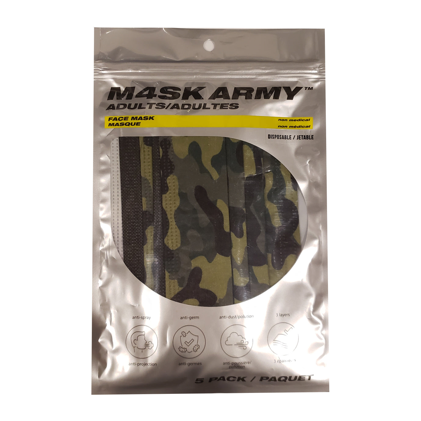 TMA DISPOSABLE CAMO MASK 5-PACK