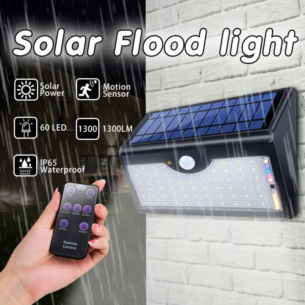 Outdoor Led Motion Sensor Light With Solar Powered Battery Remote Staxdeal