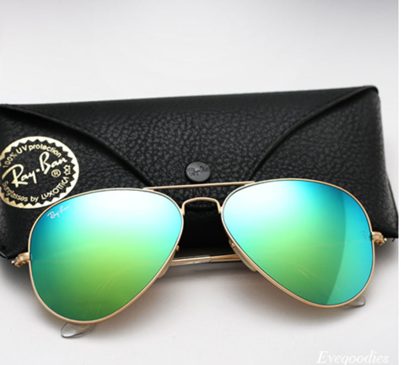 Classic Aviator Large - Gold + Green