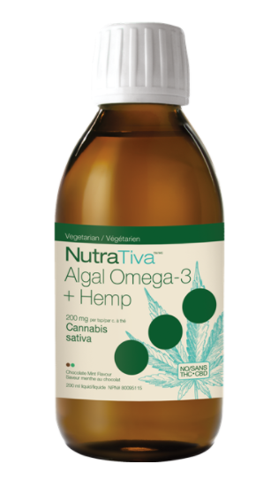 NutraTiva Algal Omega-3 + Hemp Oil, Chocolate Mint, Vegetarian, 200mg