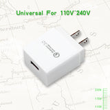 USB Quick Charge 3.0 Adapter for Mobile Phone US Plug White
