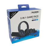 DOBE 5 IN 1 Game Pack (Dual Charging Dock, Charging Cable, Headset with Mic, Game Disc Storage Stand, Silicon Cap) for PS4/PS4 Slim/PS4 Pro (TP4-18101)