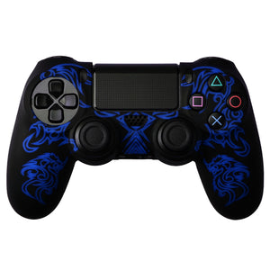 Dragon Pattern Silicon Protect Case for PS4 Controller Black/Blue