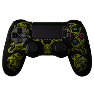 Dragon Pattern Silicon Protect Case for PS4 Controller Black/Yellow