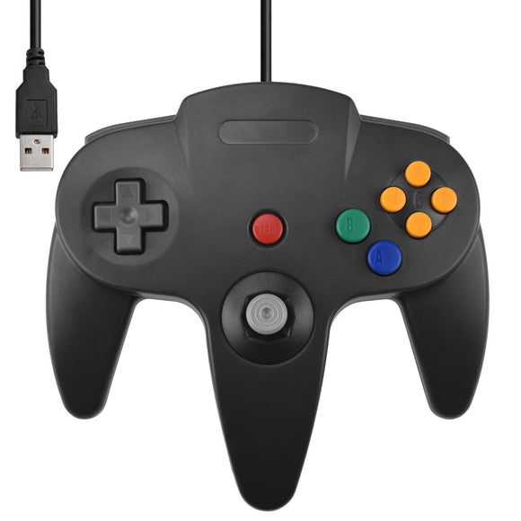 USB N64 Controller for PC Windows Black