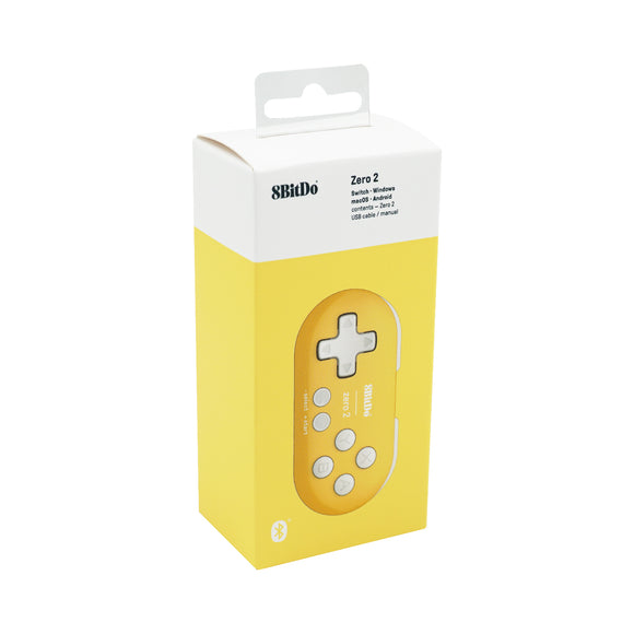 8Bitdo Zero 2 Bluetooth Gamepad for Nintendo Switch/Windows/Android/macOS/Raspberry Pi - Yellow (80EH)