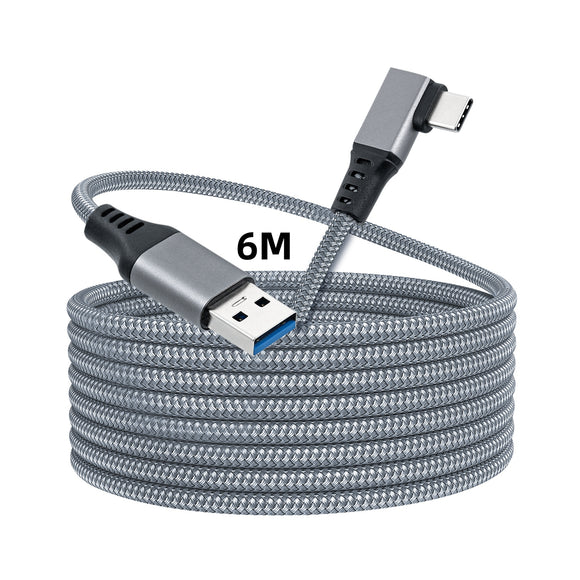 6m Right Angle Braided Type-C to USB3.0 Fast Charging and Data Transfer Cable for Oculus Quest /Quest 2/Type-C Port Devices Compatible for Oculus Quest 2 or Oculus Quest