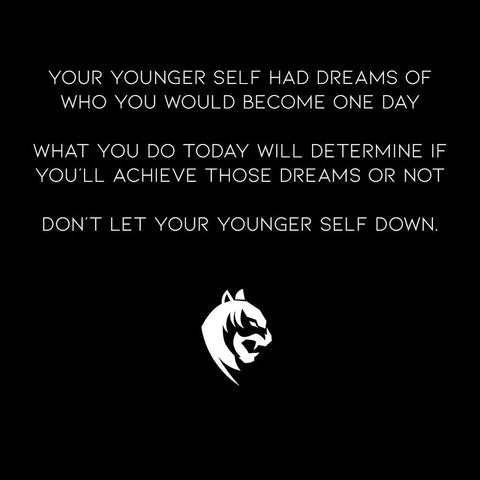 modern grit 1080 x 1080 social media image - don't let your younger self down quote