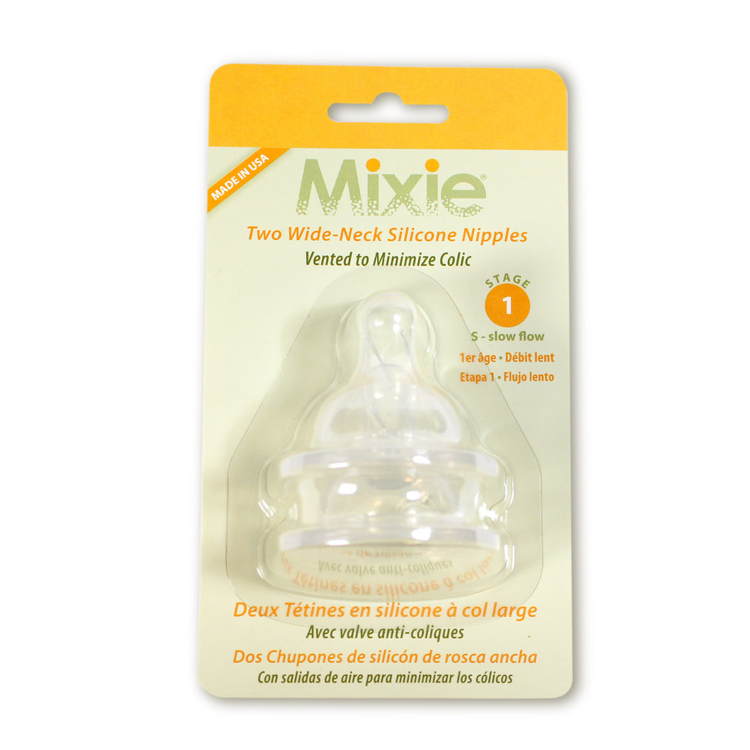 Mixie Baby Stage 1 Nipples, 2 pack - Mixie Baby