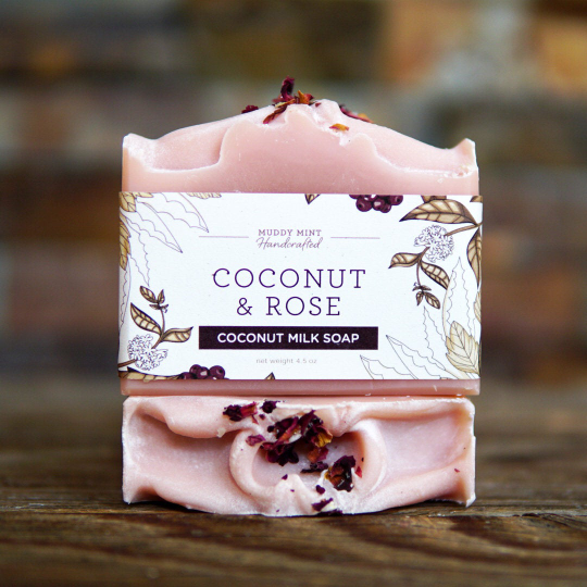 Coconut & Rose Soap, Bergamot + Geranium