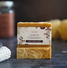 Load image into Gallery viewer, Lemon Turmeric Face Soap with Carrot Juice