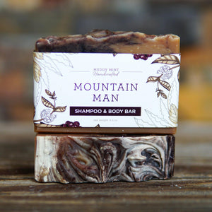 Mountain Man Shampoo & Body Soap, Woodsy Scent, Exfoliating