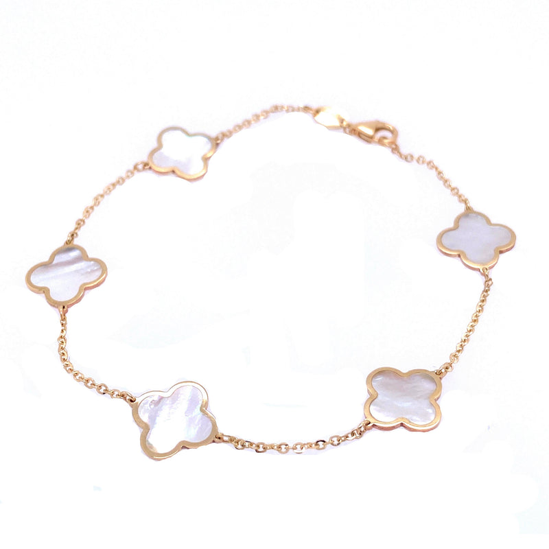 14K Gold Large Mother Of Pearl Five Clover Bracelet