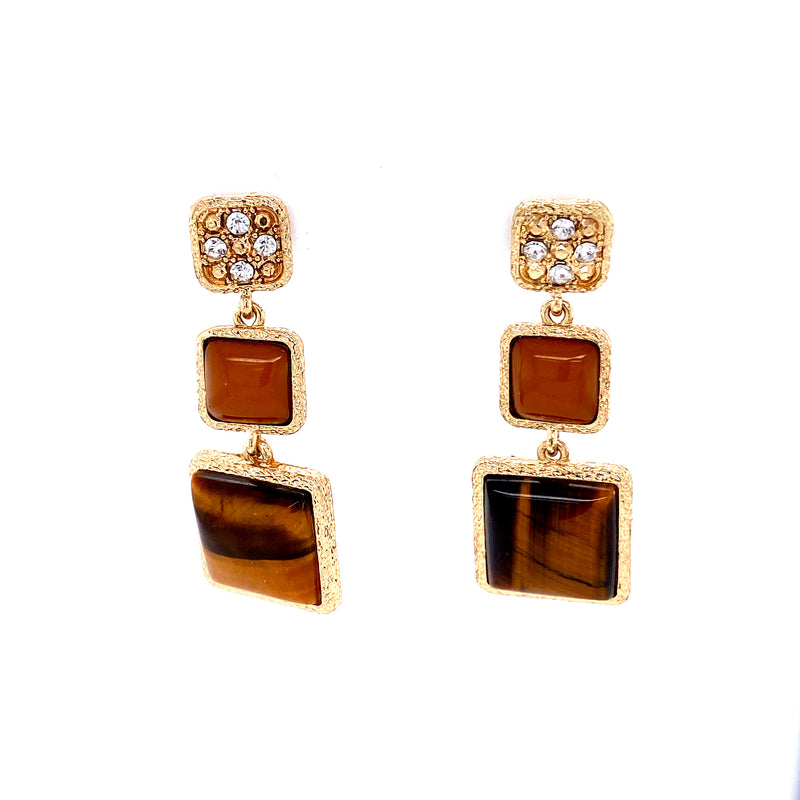 Brown Square Stone Earrings