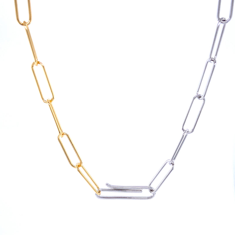 Two Tone Paperclip Link Necklace