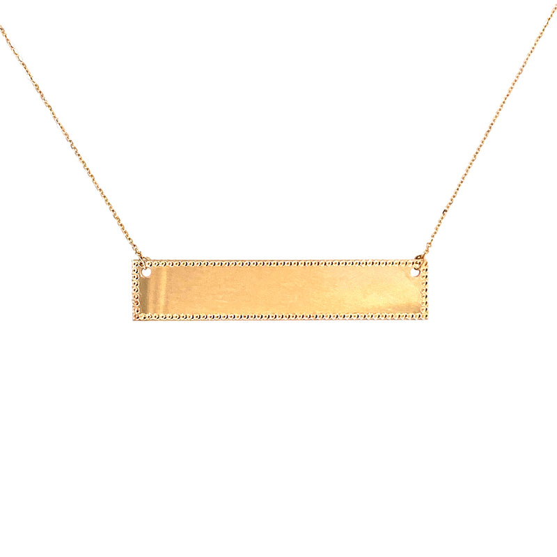 Custom Personalized Nameplate Bar In 14K Gold