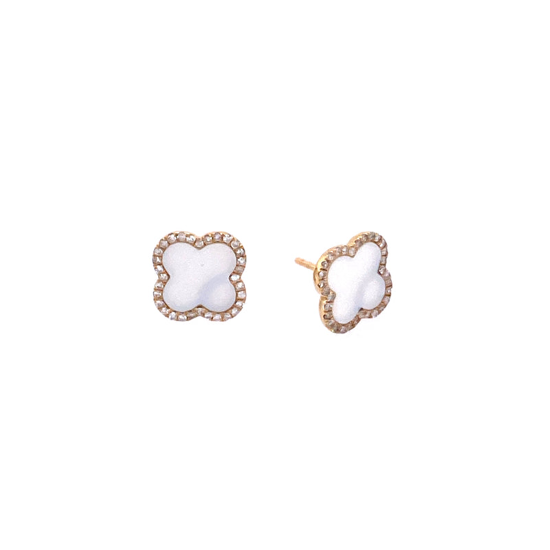 14K Gold White Mother Of Pearl & Diamond Clover Studs