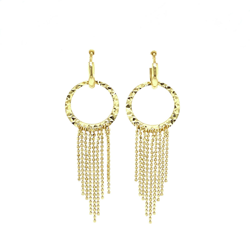 14K Gold Dangling Chain Drop Earrings
