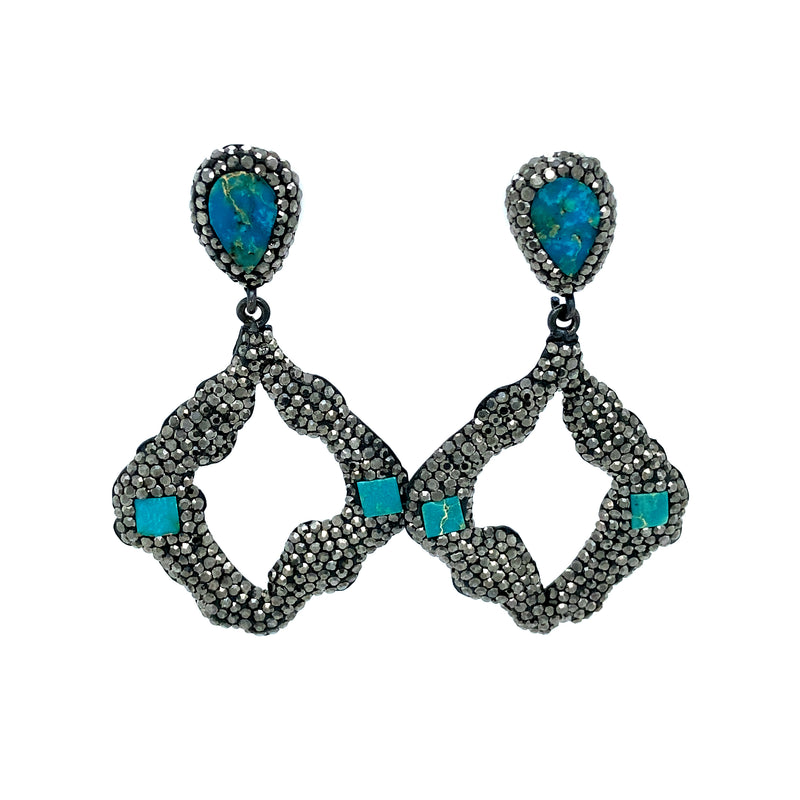 Sterling Silver Black Spinel Turquoise Drop Earrings