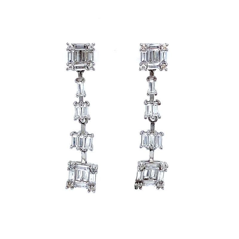 Baguette Square Drop Earrings