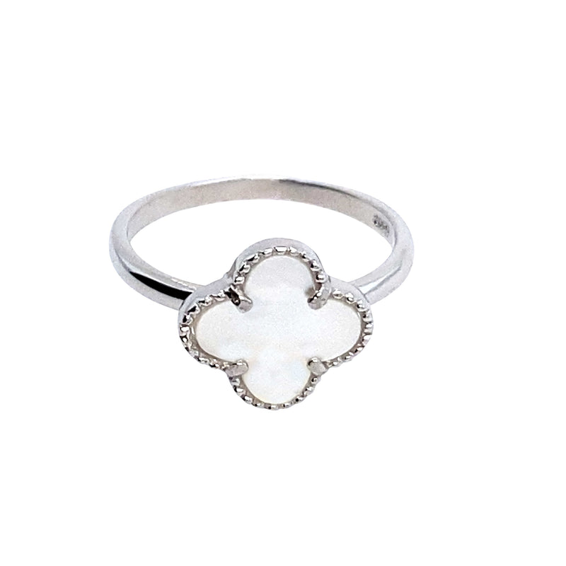 Mother Of Pearl Clover Ring in Silver