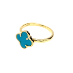Turquoise Clover Ring in Gold