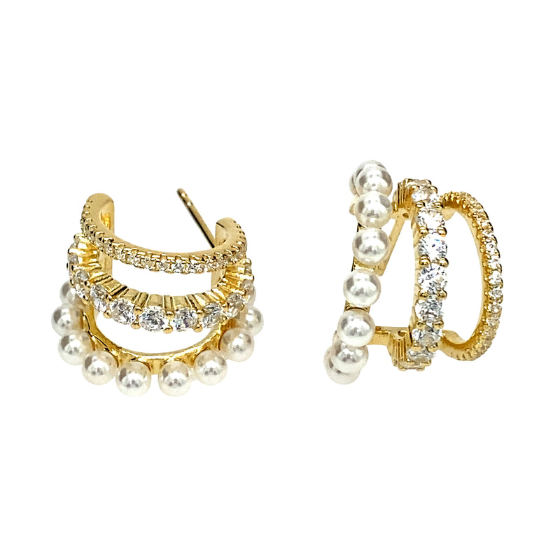 Triple Hoop Earrings With Freshwater Pearls in Gold